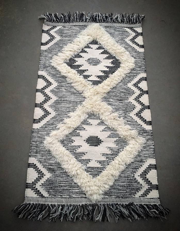 Black and White Geometric Floor Rug  70cm x 110cm  $30