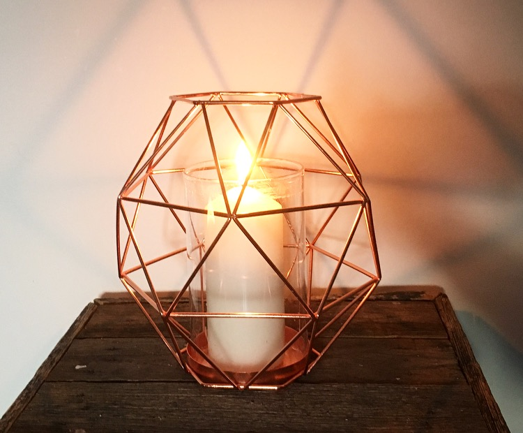 Copper Geometric Candle Holder  $5.00 each
