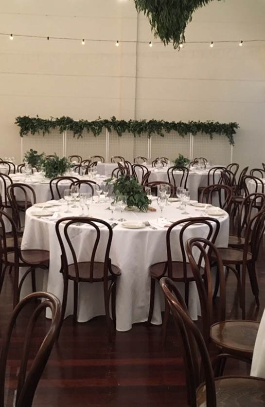 White Tablecloth  $22 each  Trestle size 3.8m x 2.4m (Drapes to floor on a 2.4m x 90cm table)  Round size 3.8m round (Drapes to the floor on a 1.8m round table)