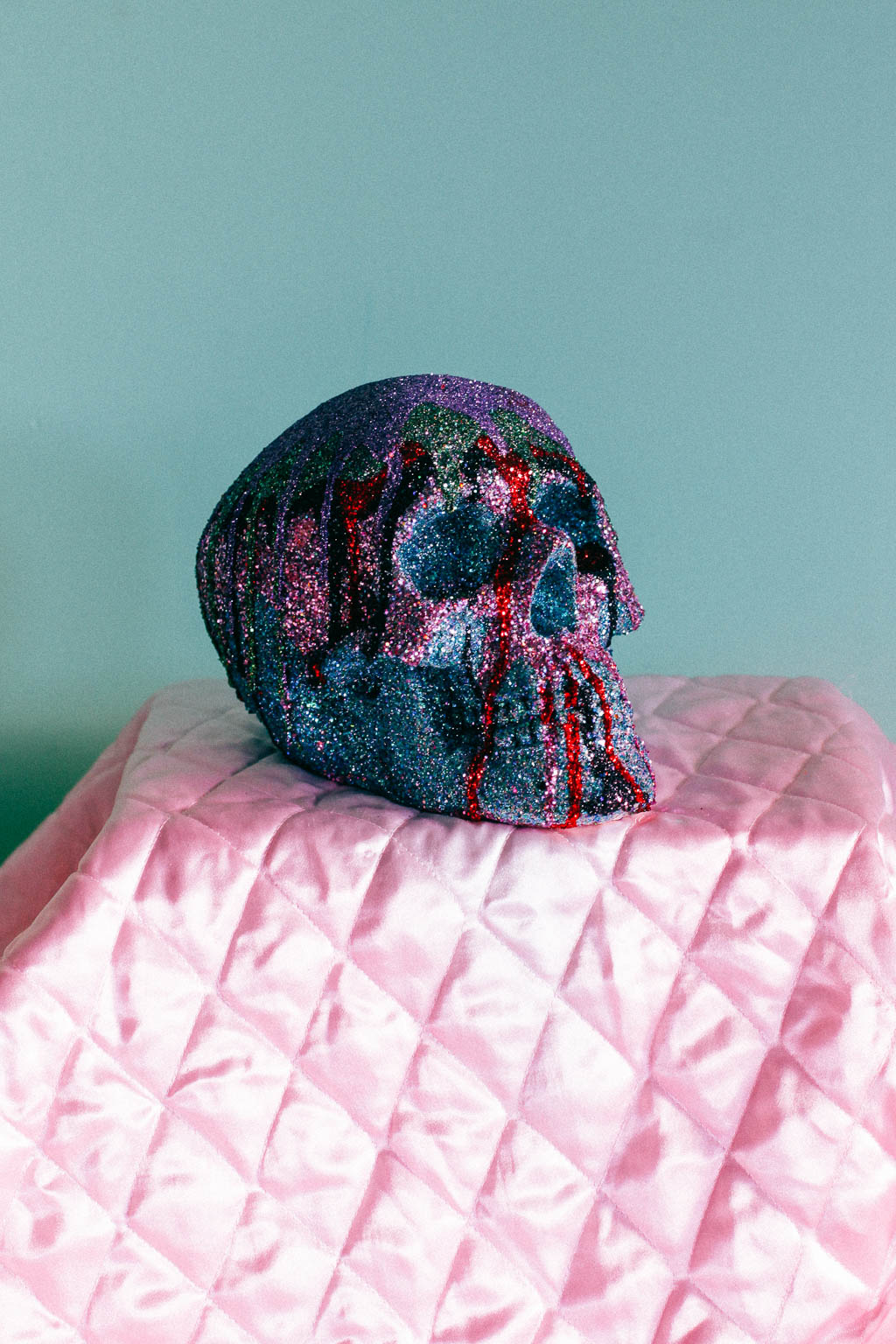 SKULL 3 - SOLD -   Glitter and Glue on Moulding Foam