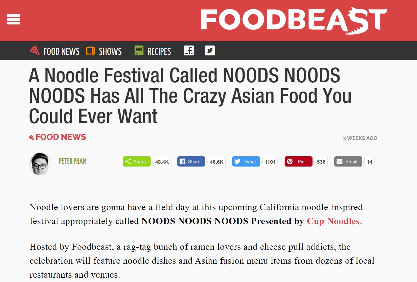 Foodbeast: Noods Noods Noods Festival 2017  (READ HERE)