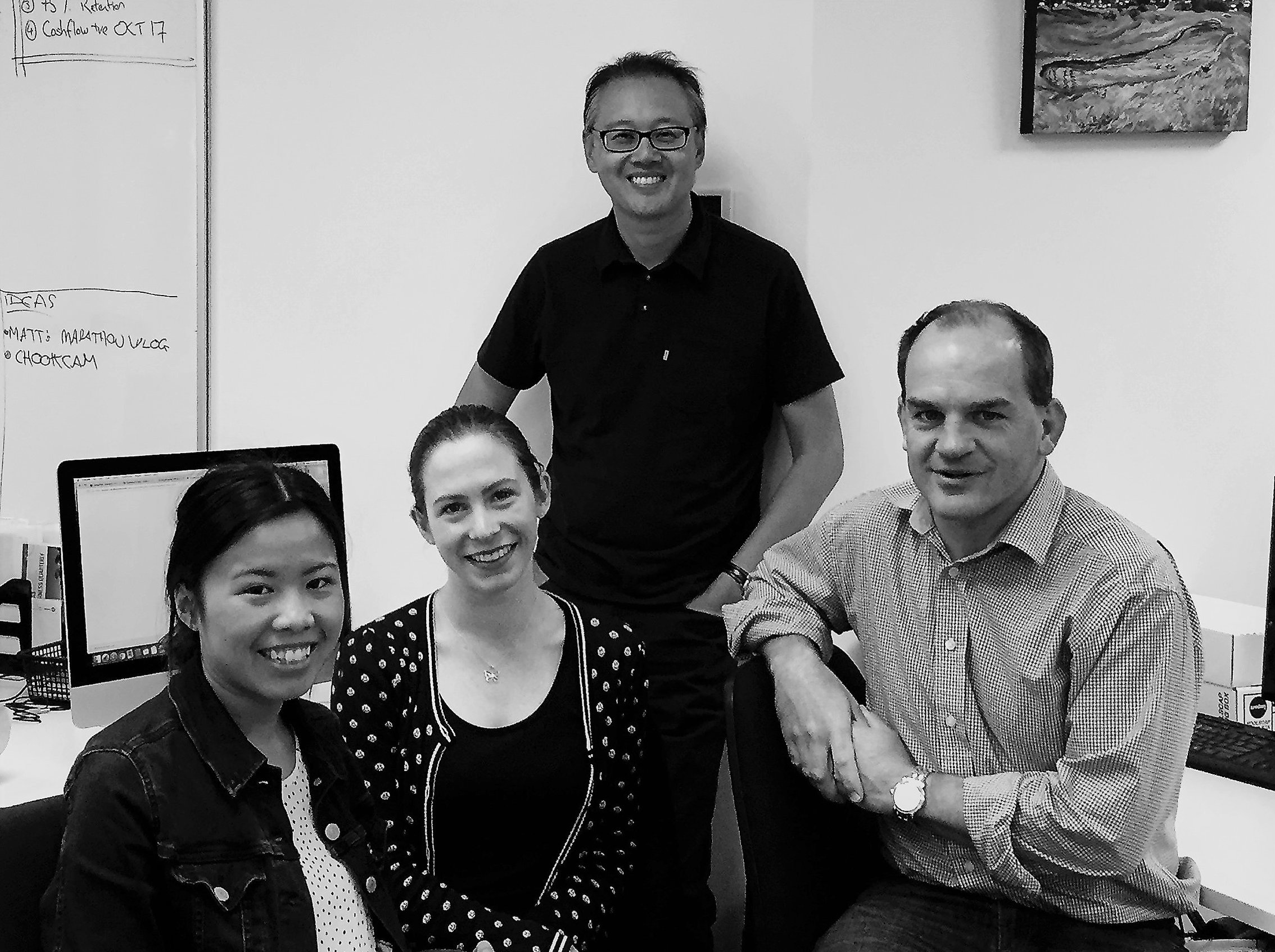 February 2017, The Digital Cafe. From left to right Sarah Chin, Lucy Davy, Antony Young and Matt McNeil.