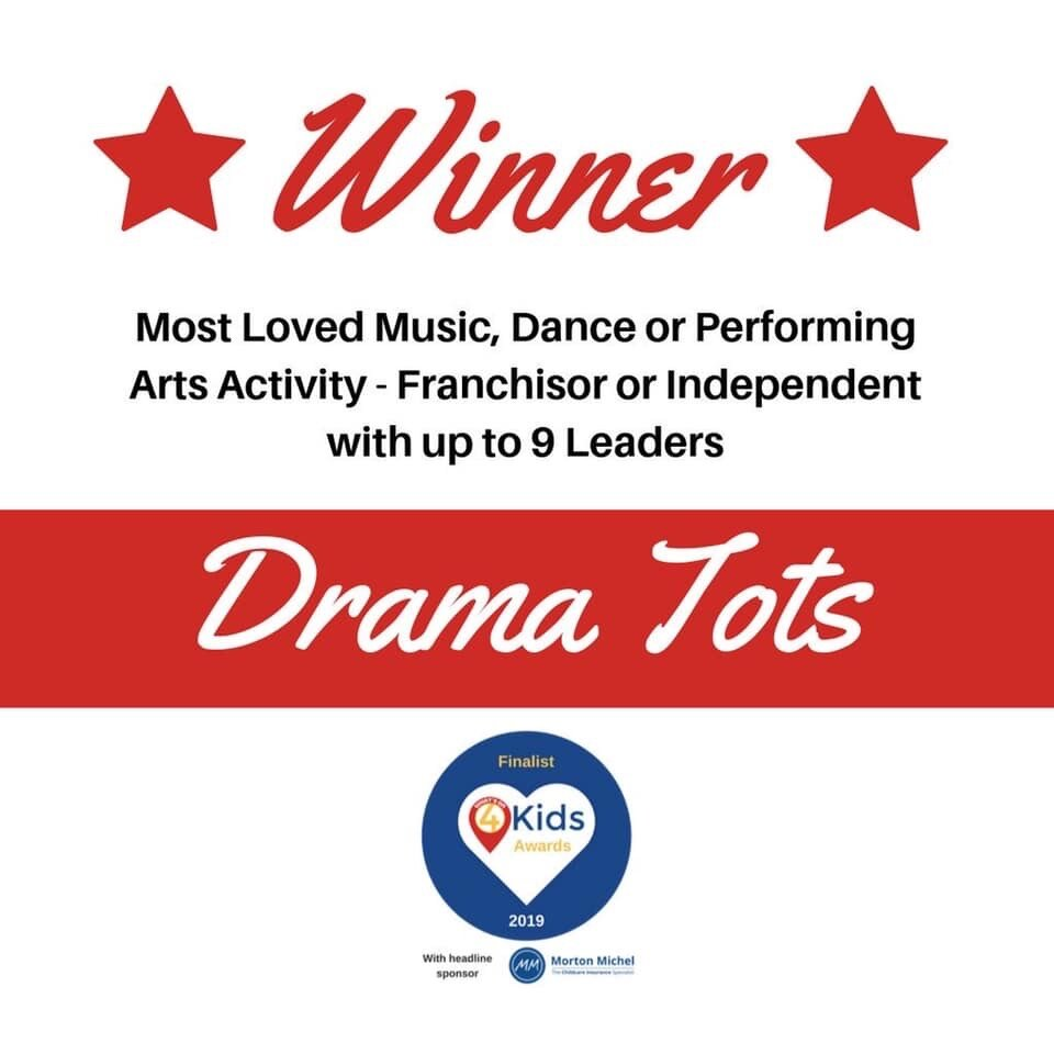 Drama Tots wins at the Whats On 4 Kids Awards