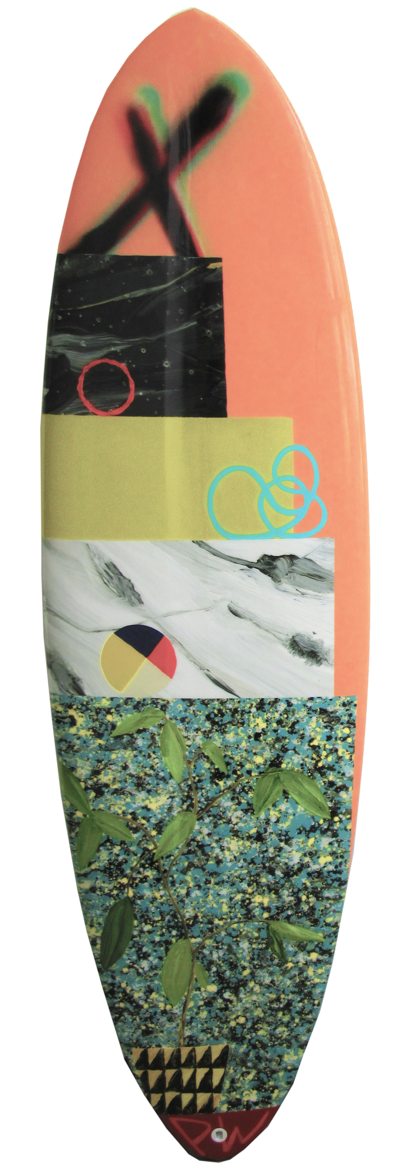 Surfboard design by Paul Wackers benefiting Waves for Water and Changing Tides Foundation