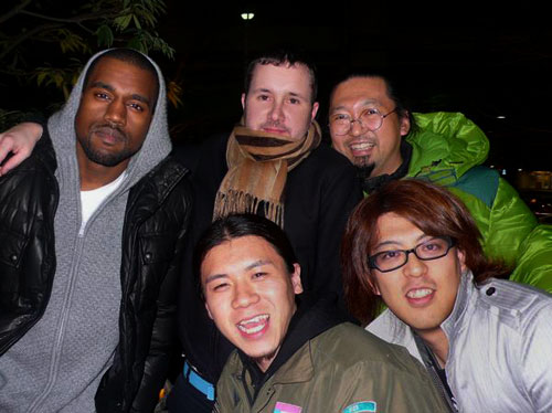 Kanye West, Kim Jones, Takashi Murakami and his team in 2008 (image: Hintmag)