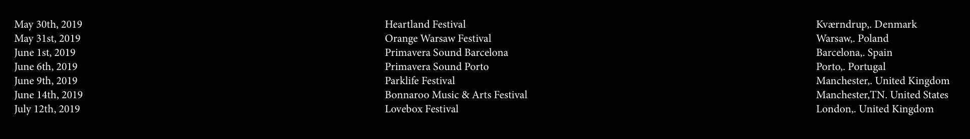 Solange 2019 European Festival tour