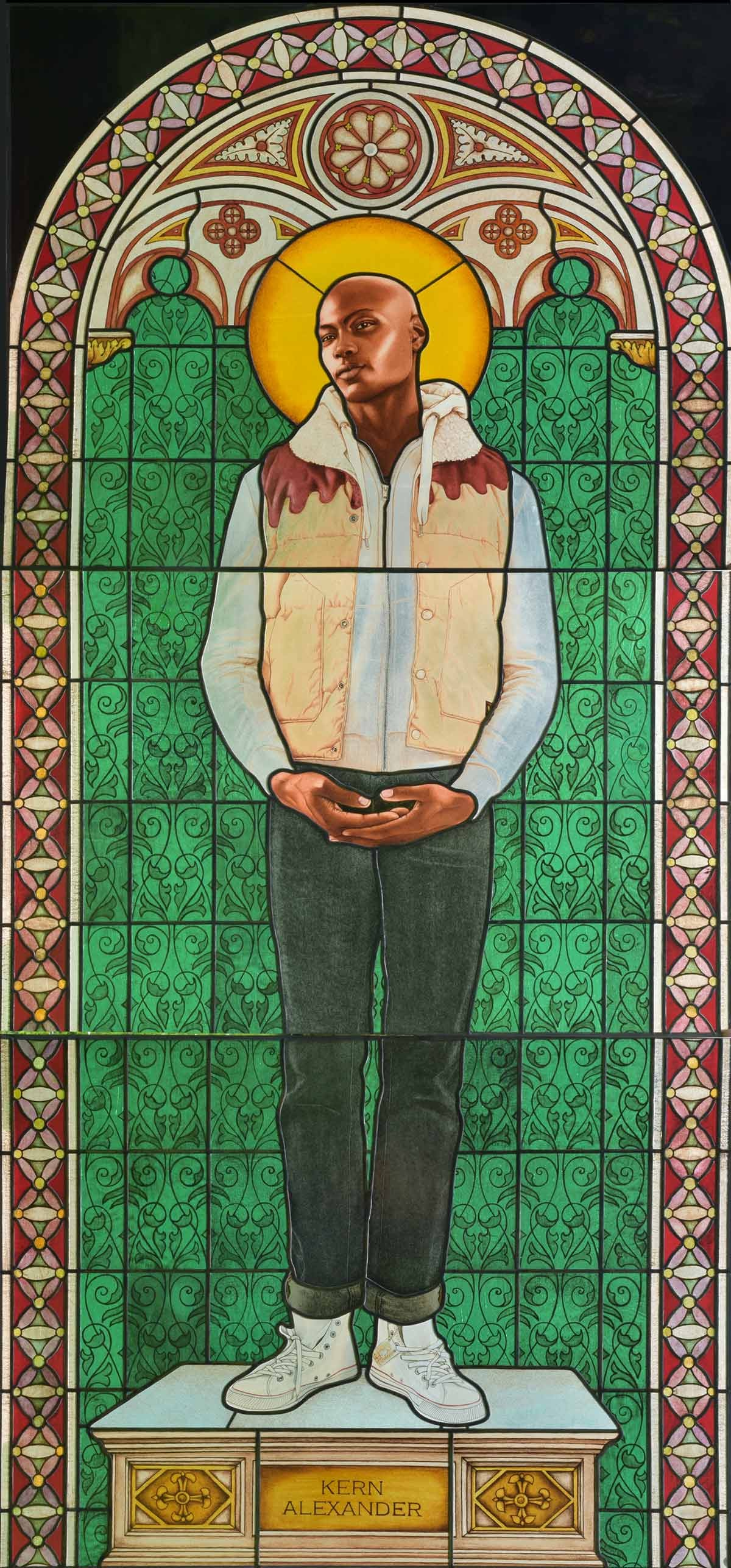 Kehinde Wiley, Saint Amelie, 2014, Glas in lood 251,2 x 115,4 cm, Courtesy of Templon, Paris & Brussels - On view at Kunsthal