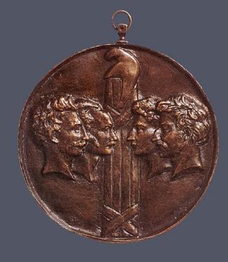 3. Pierre-Jean David D'Angers,  Les Quatres Sargents de La Rochelle.  Cast bronze. Diam.: 88 mm. Private Collection, U.S.A.