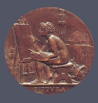 8a. Jules Clement Chaplain, Reverse,  Jean-Léon Gérome :  Pittura,  1885. Cast bronze. Diam.: 100 mm. Private Collection, U.S.A.