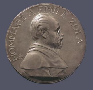10. Alexandre Charpentier,  Hommage à Émile Zola . Cast pewter. Diam.: 195 mm. Private Collection, U.S.A.