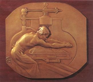 12. Alexandre Charpentier,  L'Imprimeur . Cast gilt bronze. 220 x 207 mm. Private Collection, U.S.A.