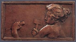 13b. Alexandre Charpentier,  La Sculpture , c. 1896. Cast Bronze. 82 x 150 mm. Private Collection, U.S.A.