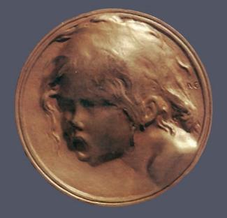 14. Alexandre Charpentier,  Le Cri , c. 1900. Cast gilt bronze. Diam.: 60 mm. Private Collection, U.S.A.