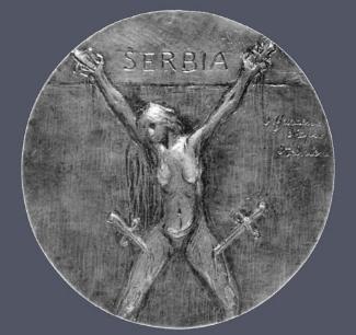 15. Ovide Yencesse,  Serbia , c. 1916. Cast bronze. Diam.: 195 mm. Courtesy of The Metropolitan Museum of Art, New York.