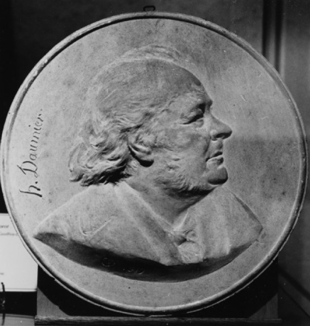 Fig. 1. Adolphe Victor Geoffroy-Dechaume,  Honoré Daumier , patinated plaster medallion, 1879, private collection.