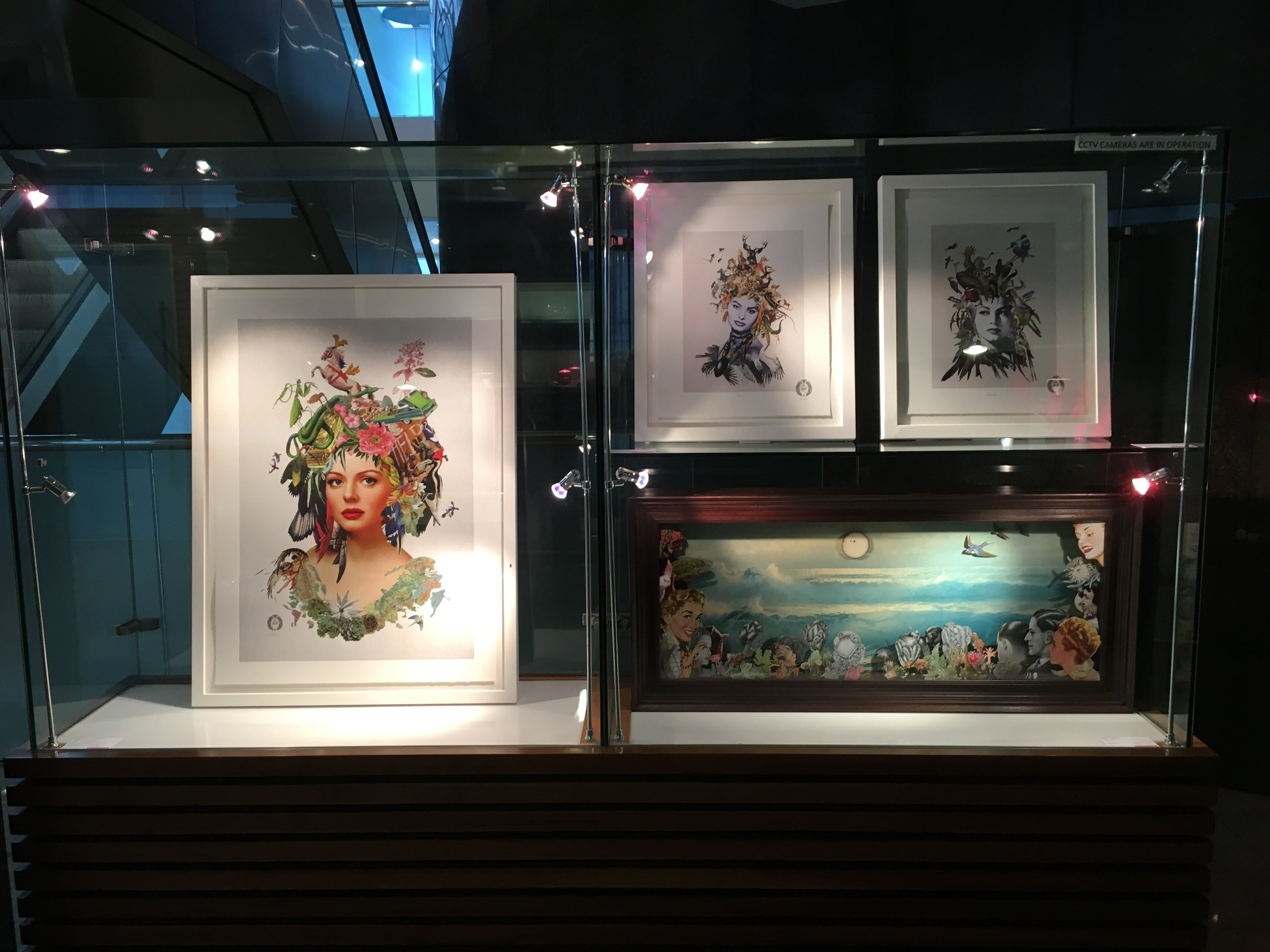 Showcase featuring Maria Rivans limited edition original prints and original 3Dcollage in a bespoke box frame.
