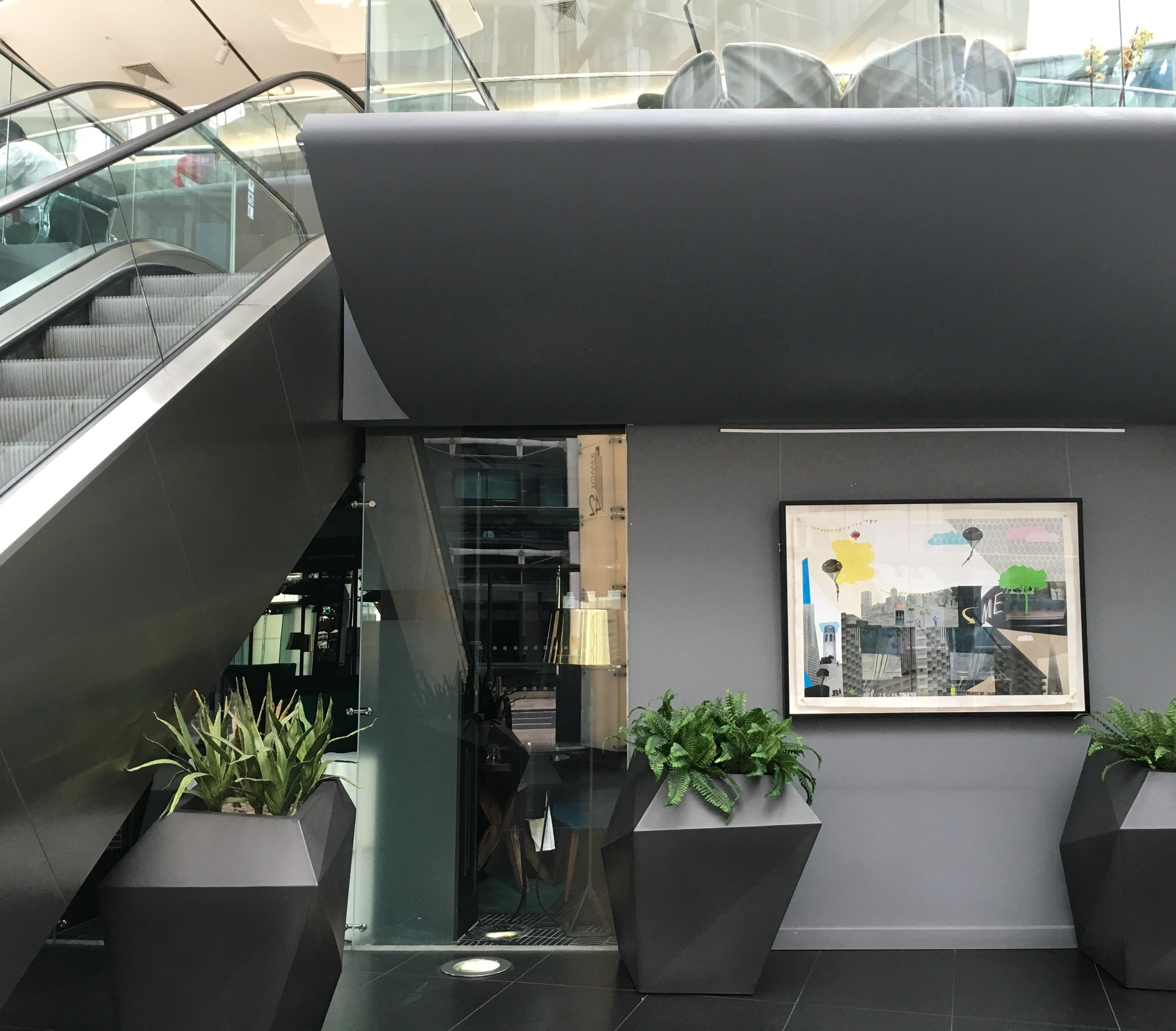 The original 'Off Road' collage by Bonnie and Clyde in the main entrance to Tower 42.