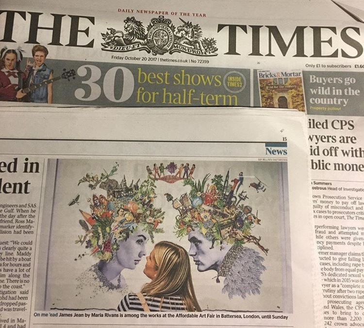 The fabulous double pin-up original collage by Maria Rivans exhibited at the Affordable Art Fair, Battersea and featured in The Times.