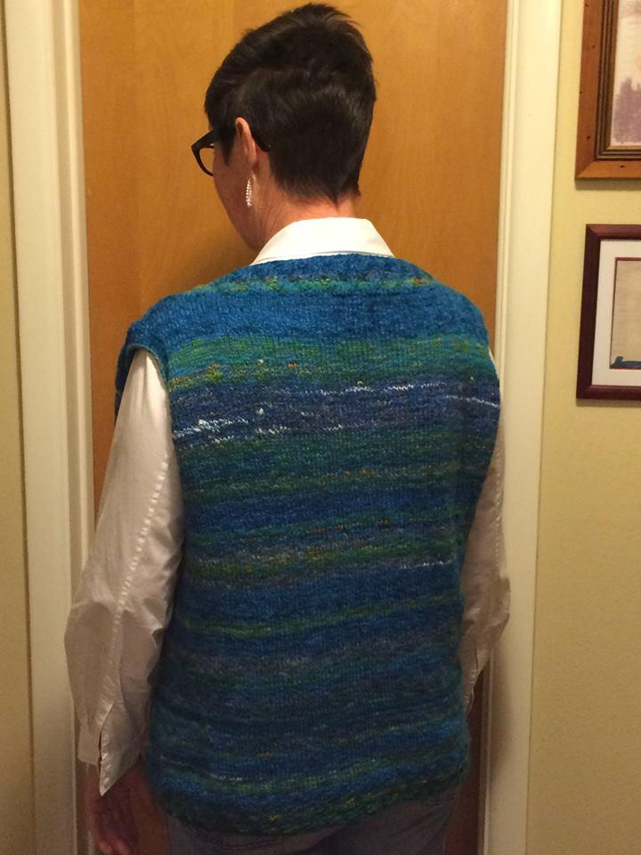 California vest handspun knit fibers trips
