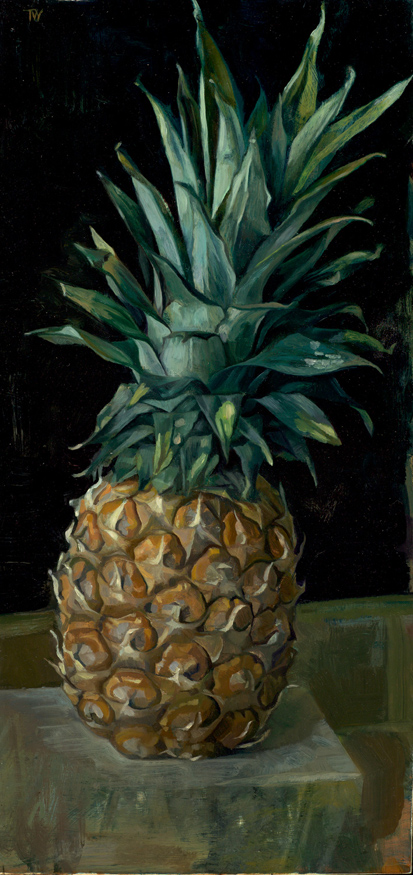 'Pineapple' 41x20cm (16x8 inches) oil on gesso panel. private collection.