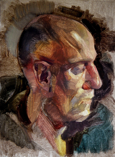 "'Head Study-The Listener' oil on canvas 40x30cm (16""x12"")."