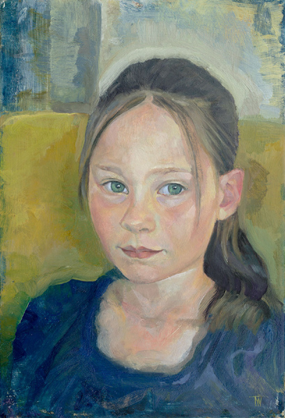 """'Lydia McKimm' oil on gesso panel 30x20cm (12""""x8""""). Private collection."""
