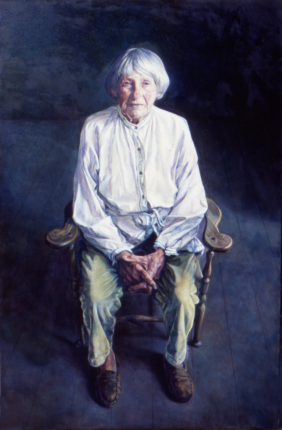 """'Mary Spencer Watson, Sculptor' oil on linen. 153x102cm (60""""x40""""). Private collection."""