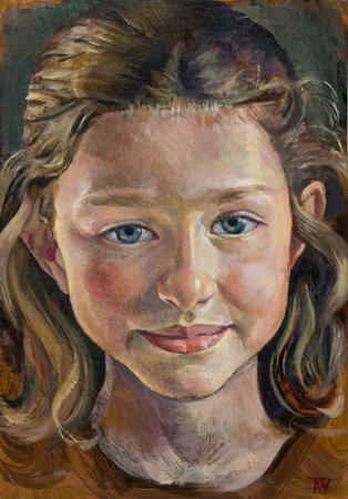 """'Merryn Parr' oil in copper plate 17x13cm (7""""x5""""). Private collection."""