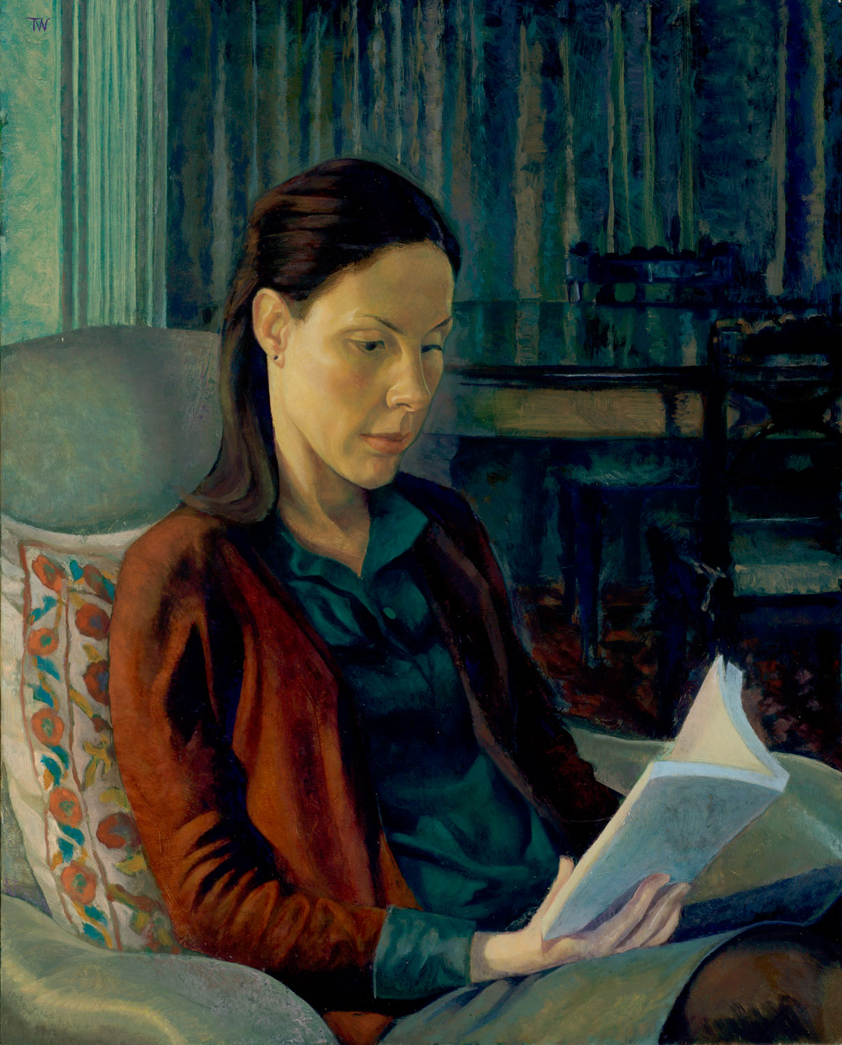 """'Nathalie Reading' oil on canvas.50x40cm (20""""x16"""").Private collection."""