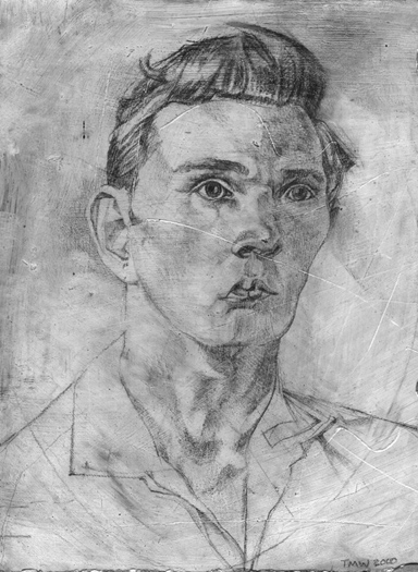 "'Anonymous Boy' 18x15cm(7""x6"") pencil on gesso panel. Prince of Wales Drawing Award 2005. Private collection."