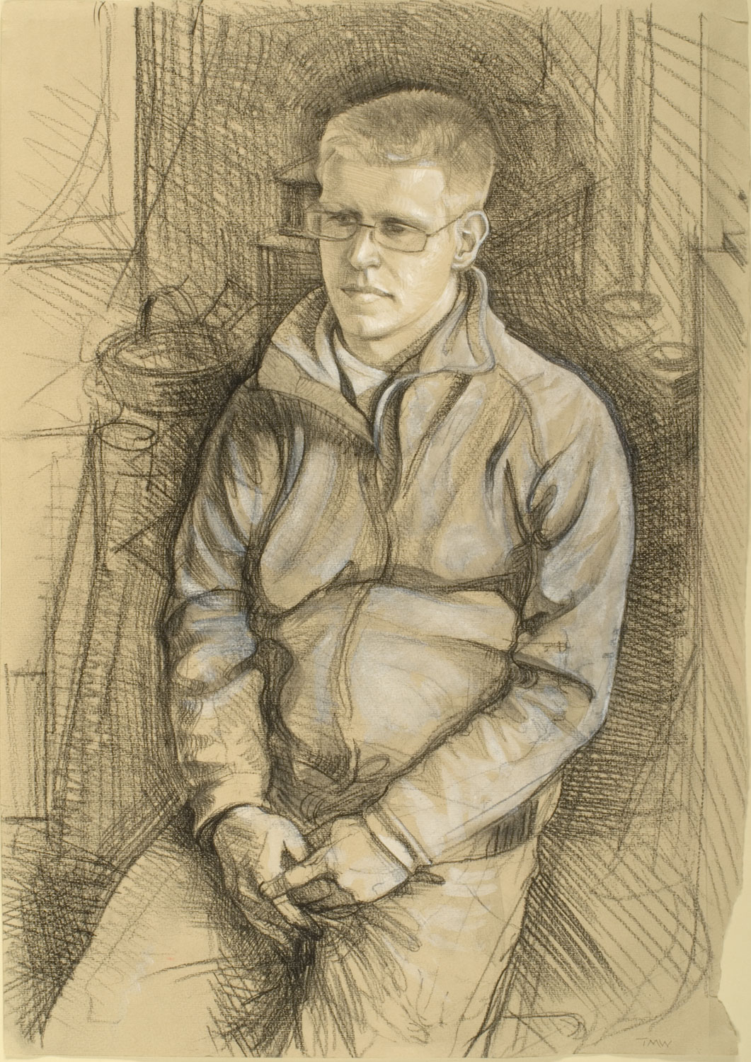 "'Jamie Hall - Sheep Farmers son, Isle of Purbeck, Dorset' 50 x 35 cm(19 ¾""x13 ¾""). Pencil on paper."