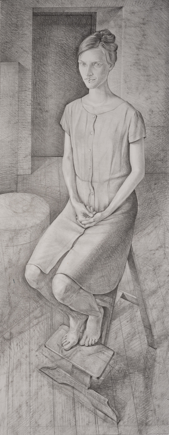 "'Portrait of a Young Woman' pencil and charcoal on paper. 115x52cm (45""x20"")."