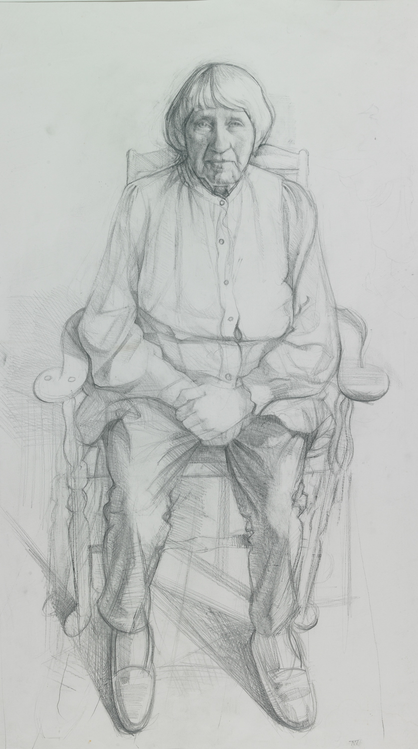 "'Mary Spencer Watson, Sculptor'  83x46cm (33""x 18"") pencil on paper. Prince of Wales Drawing Award 2013. Private collection."