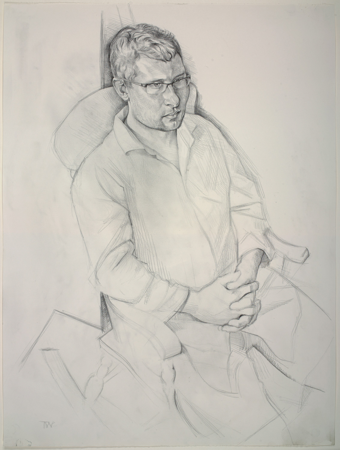 "'Matt Baldwin - Scallop diver and fish monger, Isle of Portland' 74x57(29""x22"") pencil on paper. Private collection."