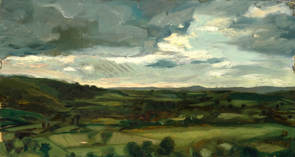 "'Blackmore Vale from Hod Hill,Blandford,Dorset' oil on gesso panel 14x23cm (5""x9"").Private collection."