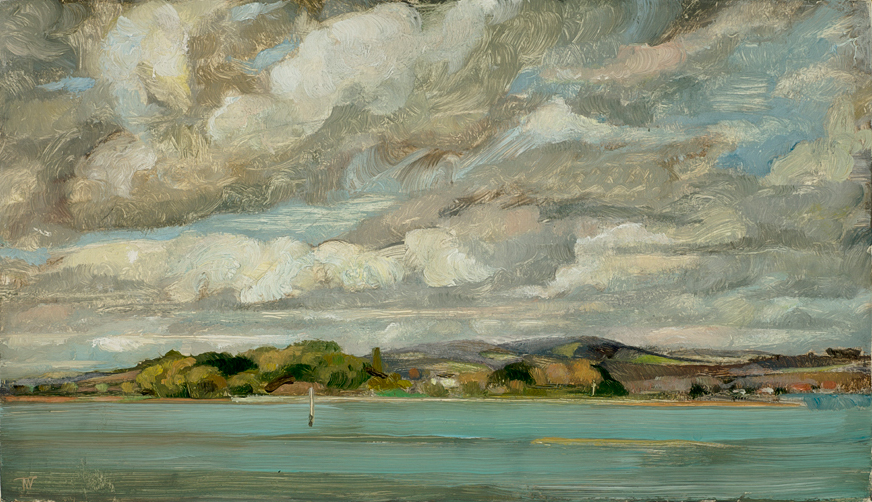 "'Itchenor Harbour with Downs, East Sussex' oil on gesso panel 20x35cm (8""x14""). Private collection."