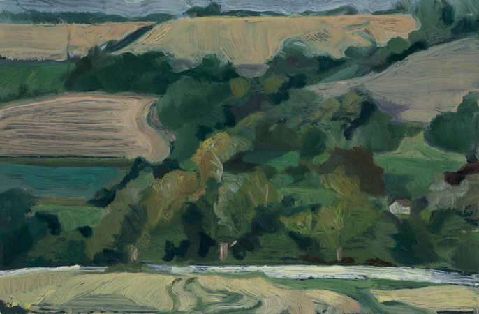 "'Woods and Cornfields near Iwerne Courtney, Dorset' oil on gesso panel 26x32cm(10""x12""). Private collection."