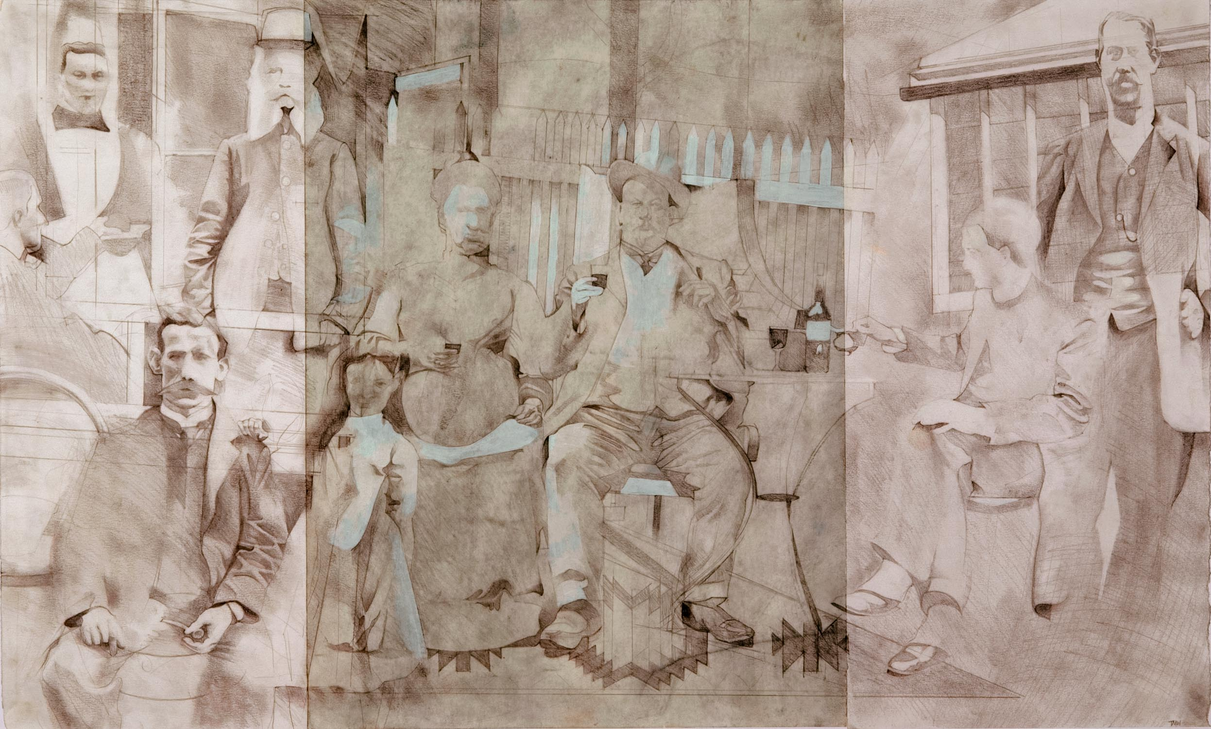 """'To Serve & to Rule' pencil on prepared paper 52x87cm(20""""x34"""")."""