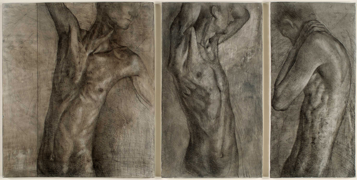 """'TorsoTriptych' mixed media on gesso panel 25x50cm (10""""x20""""). Private collection."""