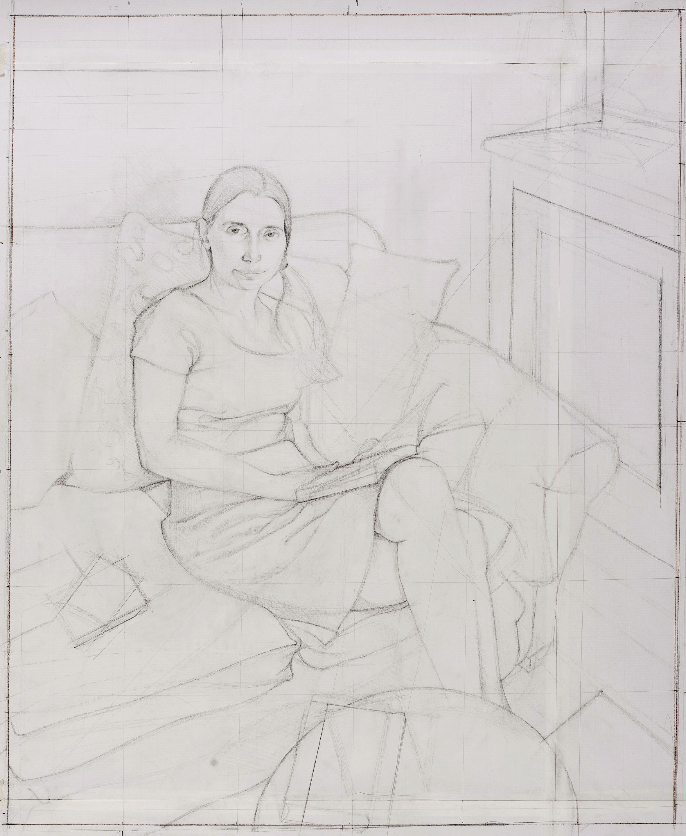 'Study for portrait of Sophie Holdforth' pencil on paper 79 x 89 cm