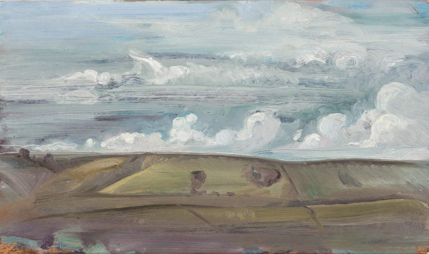 'Winter Sky over Ballard, Isle of Purbeck' 46 x 34 cm oil on gesso panel