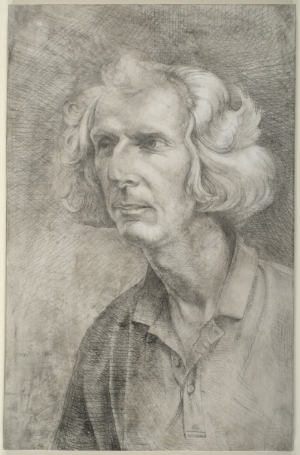 Jim Bettle - Charcoal burner, Hazelbury Bryan, Dorset  30x20cm(12x8inches) pencil on gesso panel