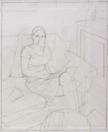 Study for a portrait of Sophie Holdforth pencil on paper 79 x 89cm inc frame 2017 Toby Wiggins.jpg