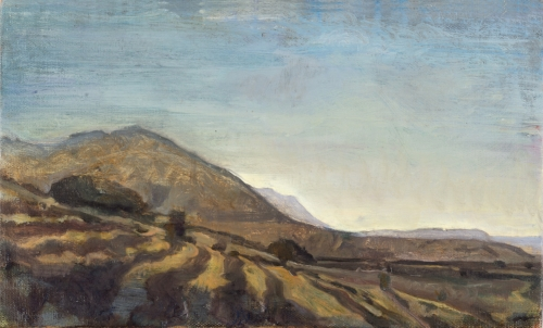 'Down the shady side to the Bad Mountains: From Sotiras to the Kakovoulia ' oil on board 19 x 31 cm