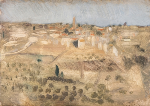 'The City of Mars: Areopoli from the sanctuary of Sotiras' oil on board 15.5 x 21.5cm