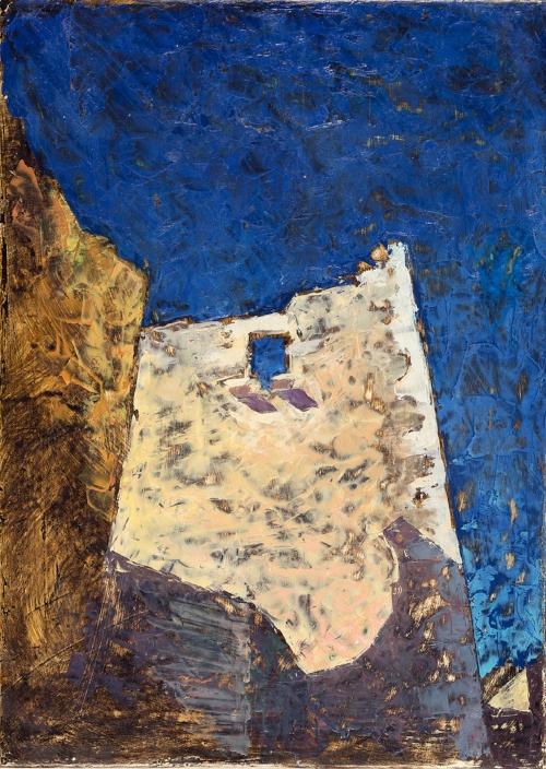 'Pirgos 2: War Tower' oil on gesso panel 35.5 x 26 cm