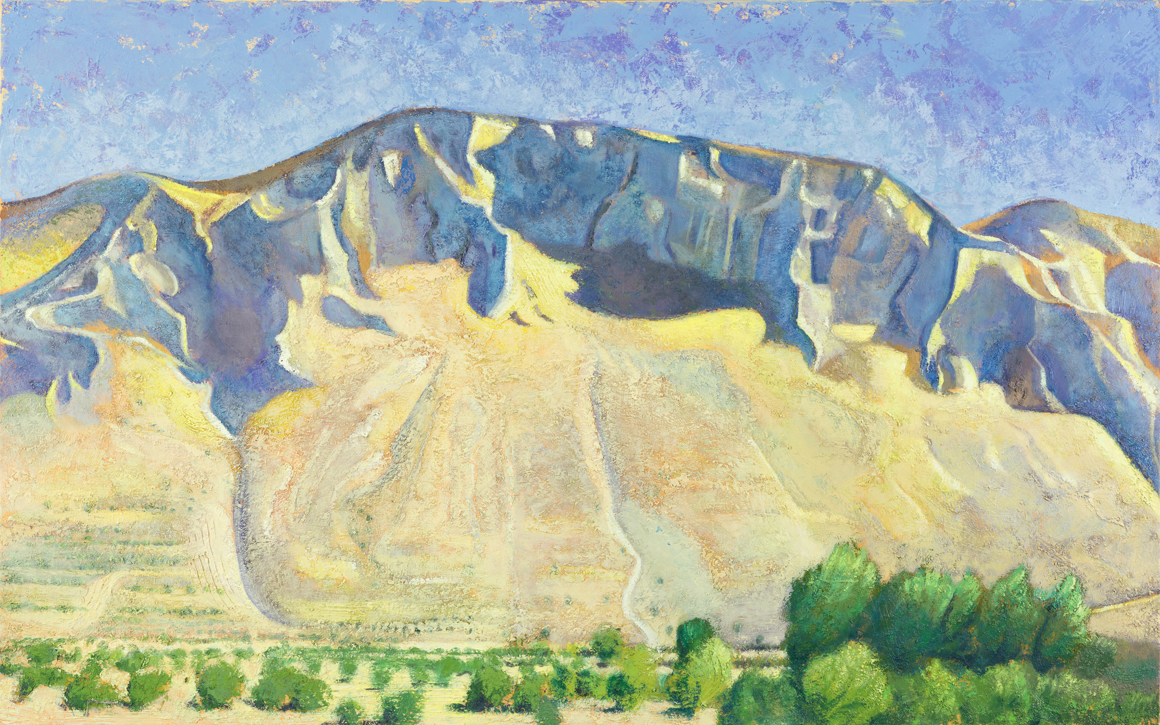 'The great crag: Mt. Elijah above Ano Boularii, noon' oil on canvas 76 x 122 cm