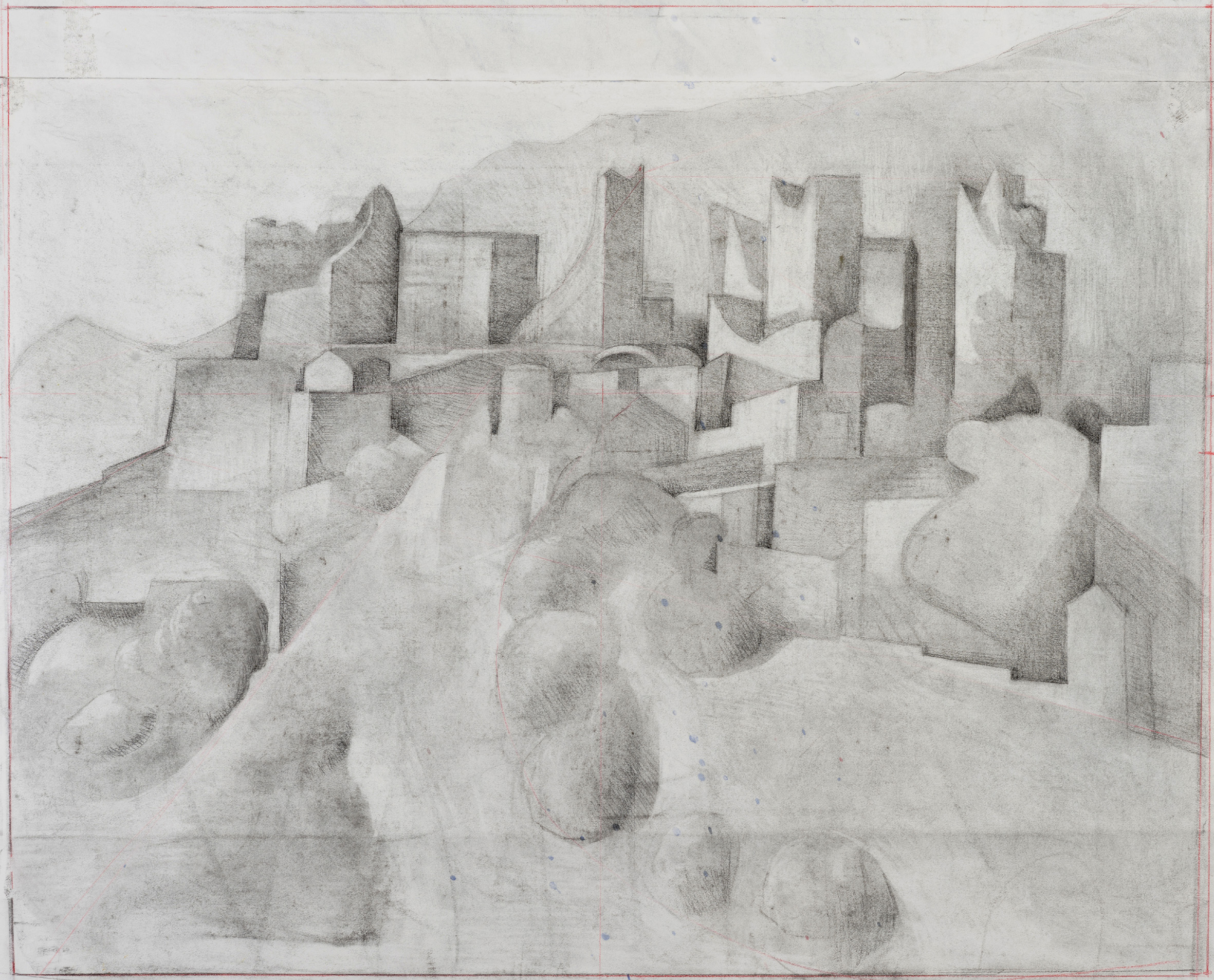 'The old hornet's nest - Vatheia' pencil and charcoal on paper 61 x 75cm