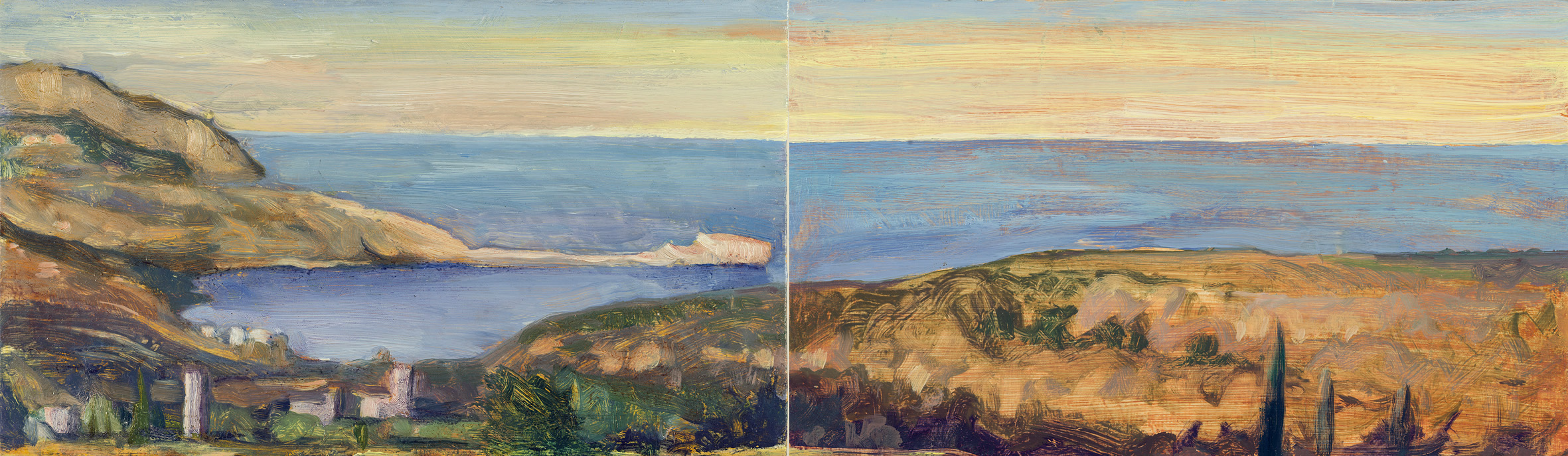 'Frying pan rock (Tigani) and the bay of Mezapos' oil on board 15.5 x 51cm