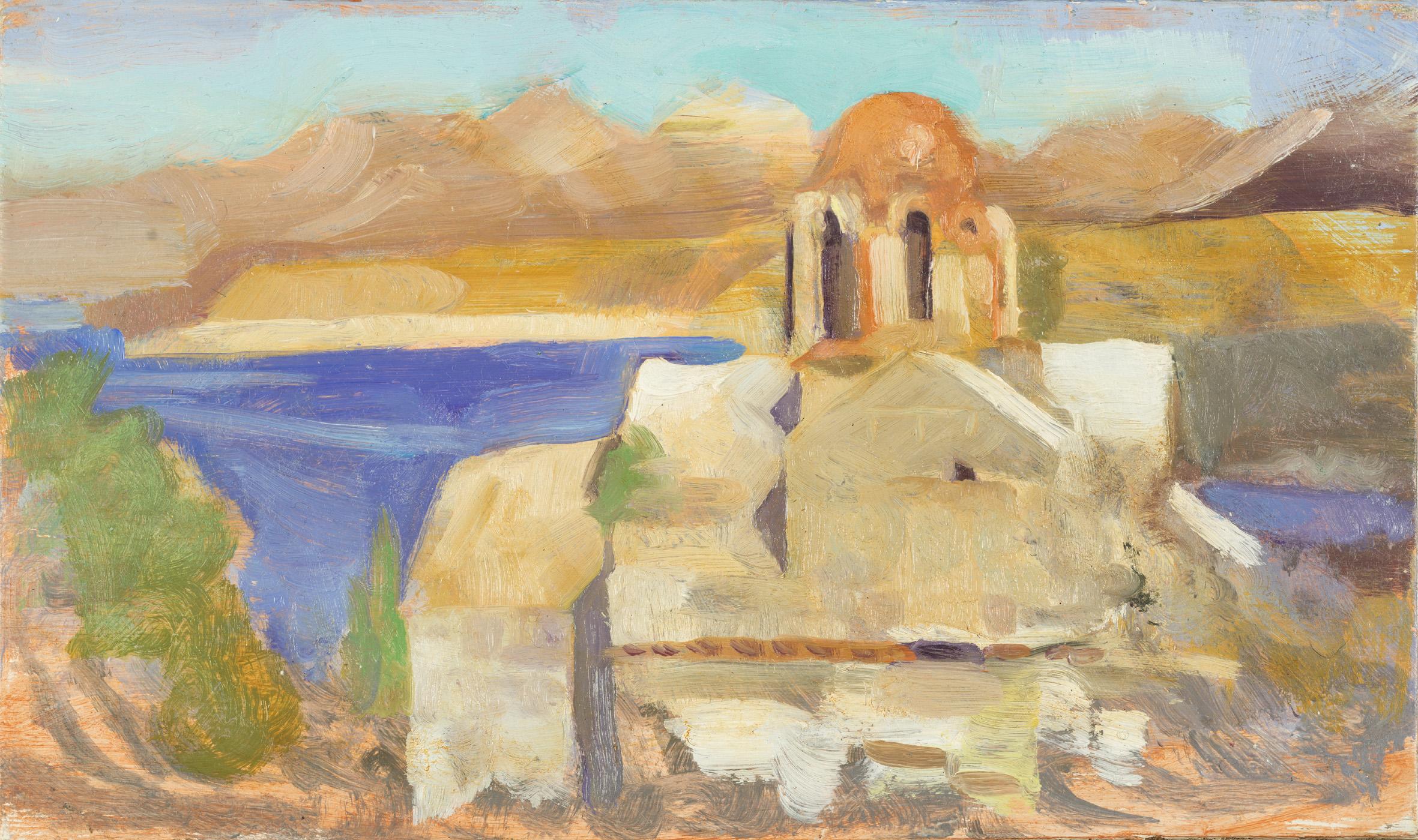 'Midday sun: study for the Poets church - Vlacherna, Bay of Mezapos' oil on board 15.2 x 25.5cm